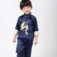 Moda bordado Chino tradicional dragón juegos para niños muchachos del estilo Chino traje de kung fu establece bebé ropa de fiesta de cumpleaños