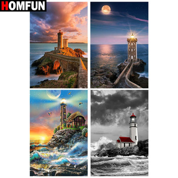 HOMFUN Full Square/Round Drill 5D DIY Diamond Painting Tower scenery 3D Embroidery Cross Stitch 5D Home Decor Gift dispaint full square round drill 5d diy diamond painting mandala scenery 3d embroidery cross stitch 5d home decor a10820