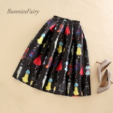 BunniesFairy 2017 Autumn Winter New Women Vintage African Style Girls Character Print High Waist Box Pleated Skirt Black Falda