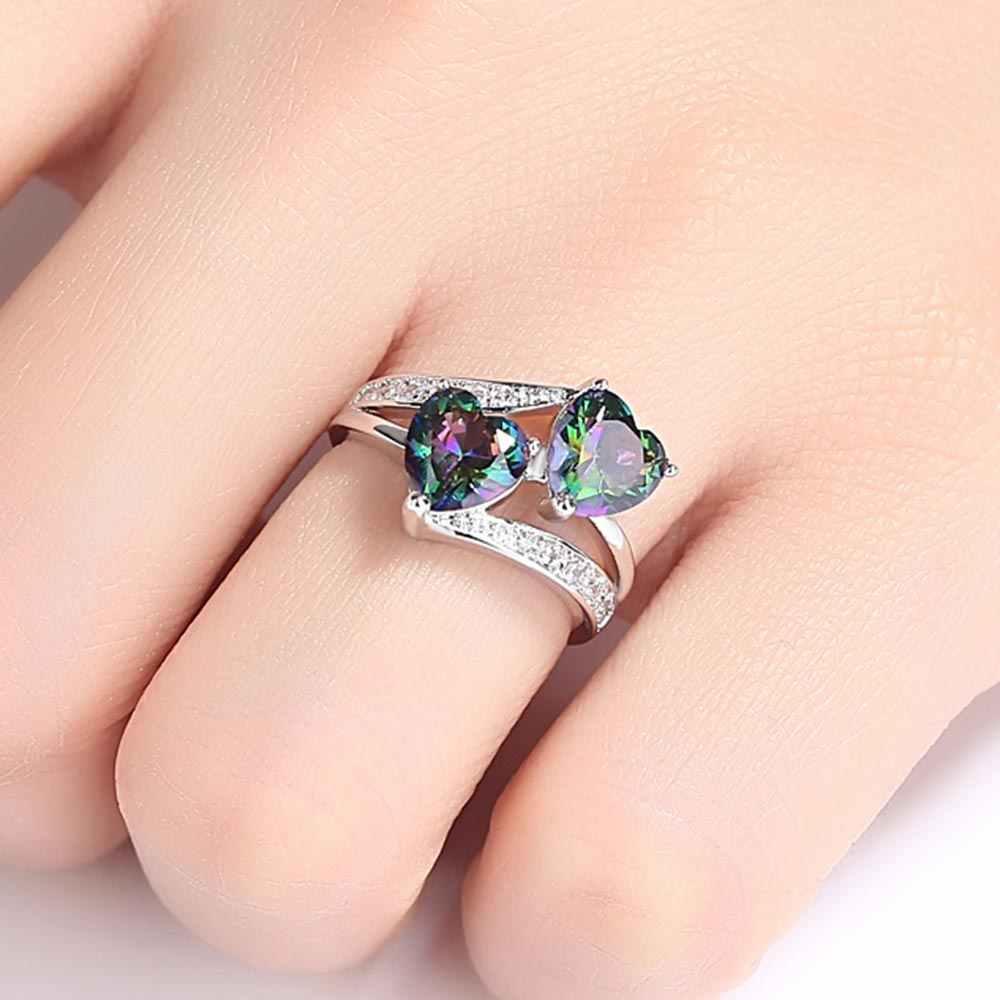 คู่หัวใจสายรุ้ง CZ แหวนโรเดียมชุบแหวนแต่งงานสำหรับผู้หญิงอุปกรณ์เสริมเครื่องประดับหมั้นสามสี D3