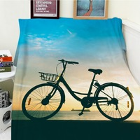 Blankets Comfort Soft Plush Easy Care Beautiful Sunset Bicycle Beach Ocean Blue S Warm Throw Cobertor For Sofa Bed