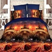 Bravo 3d Linen Eiffel Tower Reactive Print Queen Size Bedding Set Of Duvet Cover Bed Sheet