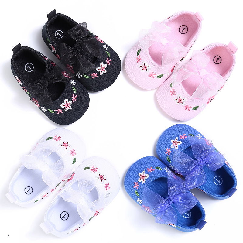 Toddler Shoes Non-Slip Soft-Bottom Autumn Girls Baby New And Spring Embroidery Four-Color-Flower