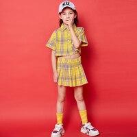 New Girls Jazz Dance Costumes Children'S Street Dance Set Yellow Plaid Shirt And Skirt Cheerleader Costume Kids Hiphop DQS1500