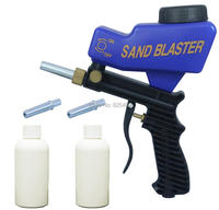 LEMATEC Sandblaster Gun With Two Abrasives Canned And Tips Air Sandblasting Gun For Clear Rust Paint