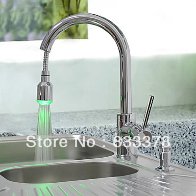Led Kitchen Basin Sink Mixer Taps Single Lever Pull Out Spray Laundry Faucet Br