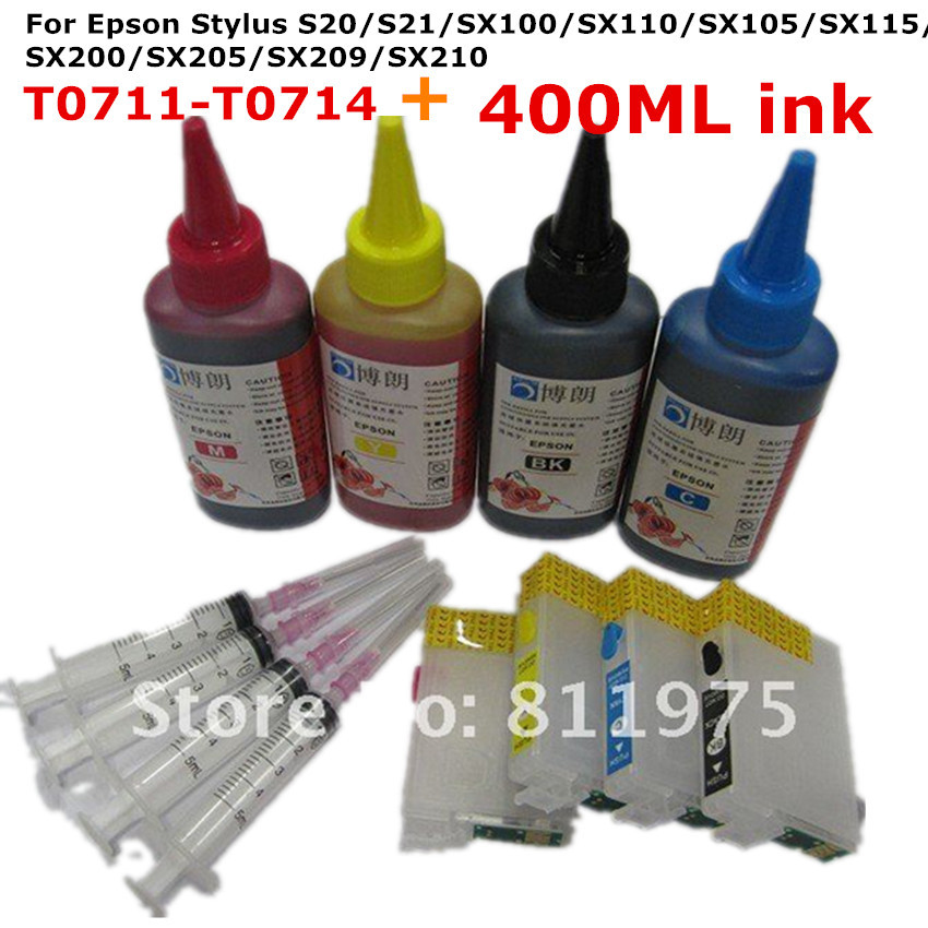711 Refillable ink cartridge for EPSON Stylus S20 S21 SX100 SX110 SX105 SX115 SX200 SX205 SX209 SX210+ for EPSON Dey ink 400ML hot with show ink level chip for epson stylus pro 7700 9700 ink cartridge for epson wide format printer