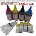 711 cartucho de tinta recarregáveis para epson stylus s20 s21 sx100 sx110 sx105 sx115 sx200 sx205 sx209 sx210 + para epson tinta dey 400 ml