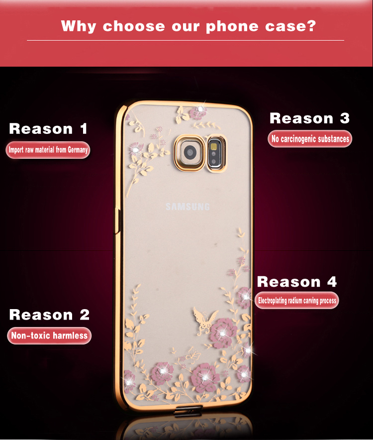 Bling Diamond Flower Case For Samsung Galaxy S3/4/5/6/7/8 C10 A5 J3 J5 J7 Note3/4 A750 A9 Soft Tpu Tansparent Phone Back Cover