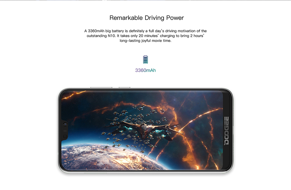 DOOGEE N10 2019 Android 8.14G LTE Mobile Phone 5.84inch Octa Core 3GB RAM 32GB ROM FHD 19:9 Display 16.0MP Front Camera 3360mAh