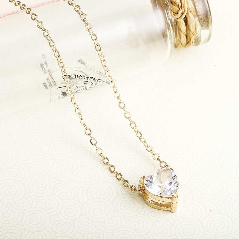 קריסטל תליון Neklace לנשים זהב צבע פשוט קצר שרשרת מבריק לב אופנה שרשרת לחתונה יום הולדת מתנה X41