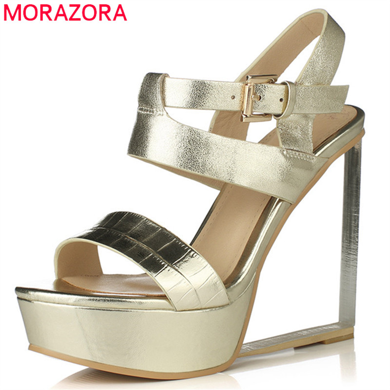 MORAZORA 2019 new style gladiator sandals women genuine leather shoes buckle summer wedges platform sandals woman prom shoes MORAZORA 2019 new style gladiator sandals women genuine leather shoes buckle summer wedges platform sandals woman prom shoes