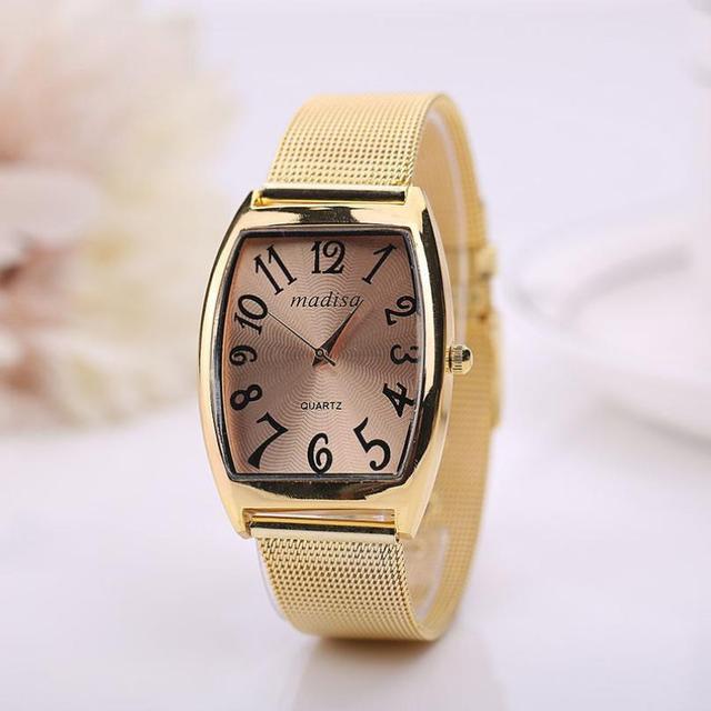 20f2497c7c6 Susenstone Retangular Relógio Das Mulheres Pulseira de ouro de luxo Mulheres  Senhora Clássico de Quartzo de