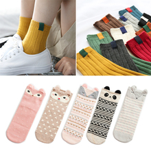 Striped Funny Socks Women Different Colors Female Cute Autumn Winter Warm Cotton Blends Long Cartoon Meias 1/2pair