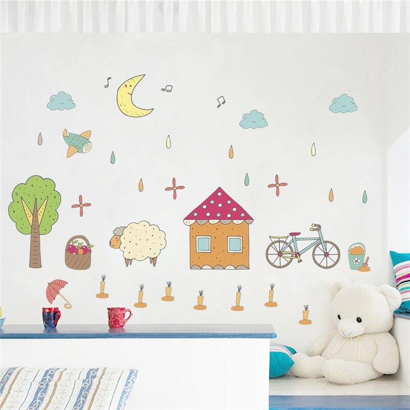 Мультфильм Дом здания овец велосипед Луна стены стикеры спальня Home Decor село Наклейки на стены diy плакат ПВХ ИСКУССТВА настенной росписи
