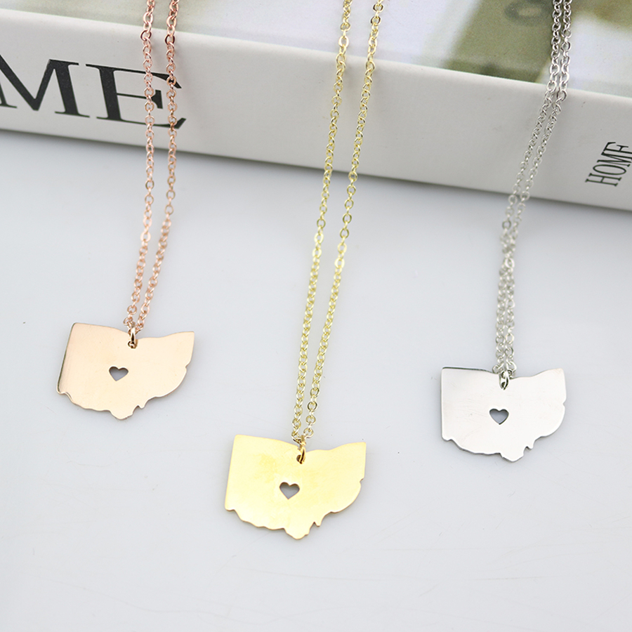Stainless steel ohio state necklace oh state map necklaces stainless steel ohio state necklace oh state map necklaces pendants america usa state map choker necklace for women in pendant necklaces from jewelry aloadofball Gallery