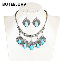 Buteeluvv bohemian jewelry set vintage leaf blue natrual stone earrings and statement carved necklace for women.jpg 250x250