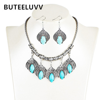 Buteeluvv bohemian jewelry set vintage leaf blue natrual stone earrings and statement carved necklace for women.jpg 350x350