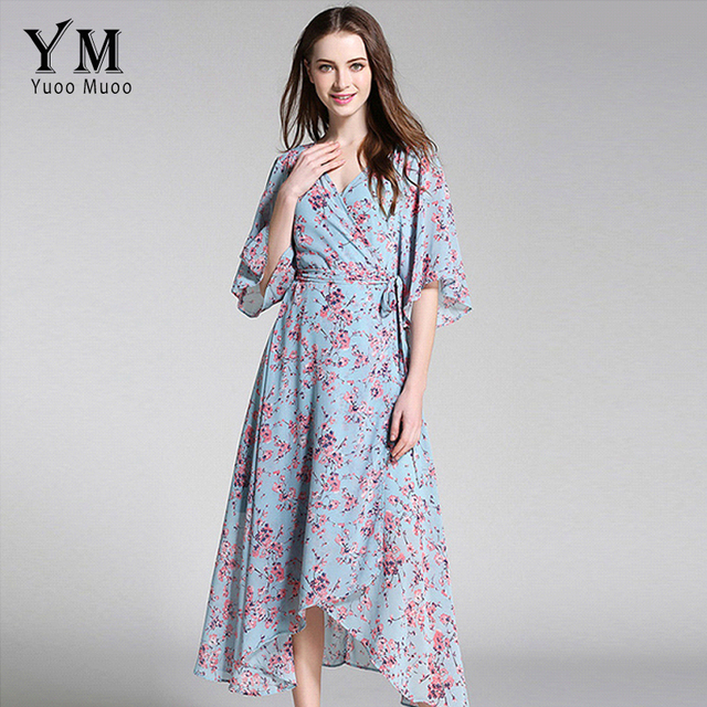 92e3f17f443 YuooMuoo New European Fashion V-neck Long Bohemian Dress Romantic Floral  Print Light Blue Summer Dress Women Chiffon Maxi Dress