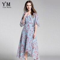 YuooMuoo New European Fashion V Neck Long Bohemian Dress Romantic Floral Print Light Blue Summer Dress