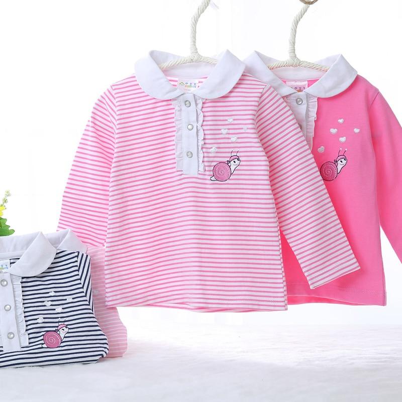 Girls T-Shirt Front-Opening Stripes Baby-Boy Children Snaps Round-Collar