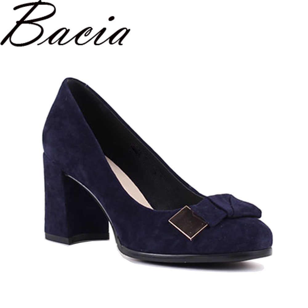 219bec1d6 Bacia/замшевые туфли-лодочки из овечьей кожи синего цвета на толстом  высоком каблуке 7