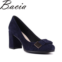 Bacia Sheep Suede Pumps Blue 7 5cm Thich High Heels Genuine Leather Ladies Shoes Round Toe