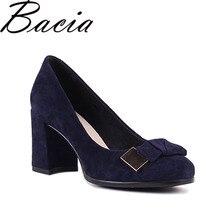 Bacia из овечьей замши Насосы синий 7.5 см толстый и Высокий каблук Женская обувь из натуральной кожи круглый носок Туфли с бантиками туфли-лодочки размер 35-41 SB026