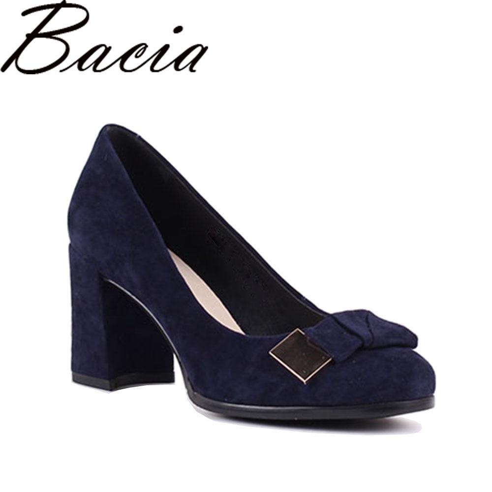Bacia Sheep suede Pumps Blue 7.5cm Thick & High Heels Genuine Leather Ladies Shoes Round Toe Bowtie Shoes Pump Size 35 41 SB026