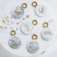 Nordic Style Mabling Coaster with Ring Creative Vintage Style Ceramic Heat Insulated Pads Jewelry Display Plate Table Decors