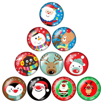 New Merry Christmas Photos Cartoons 10pcs 12mm/16mm/18mm/25mm Round photo glass cabochon demo flat back Making findings ZB0588 - discount item  15% OFF Jewelry Making