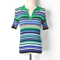 2019 Summer Runway Patchwork t shirt Harajuku Women Turn down Collar Knitted Striped PL Blue Tee Shirt Femme Casual Top Mujer