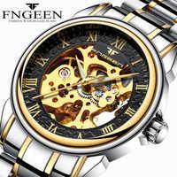 Hommes Montres Automatique Montre Mécanique Mâle Tourbillon Horloge Or Mode Squelette Montre Top Marque Montre-Bracelet Relogio Masculino