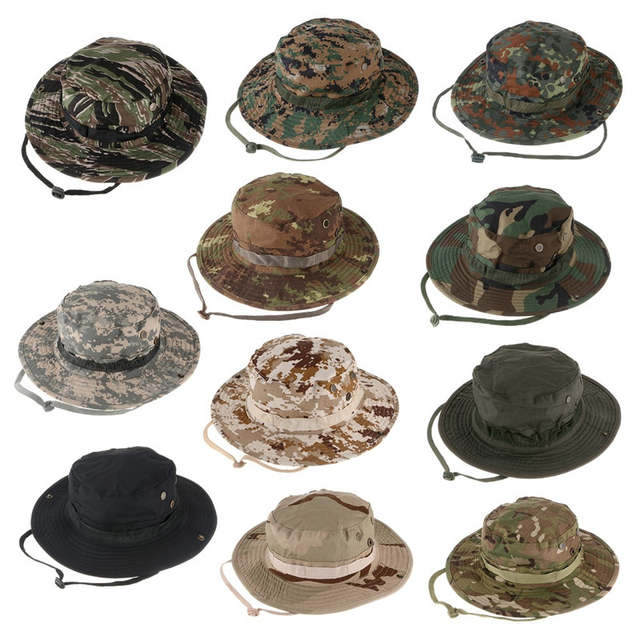 f8c7c7ee122 Military Camouflage Hidden Jungle Hat Multifunctional Fishing Caps Hats Sun  Protection Camping Hiking Sunproof Hats
