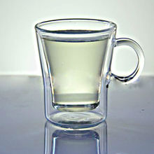 With handgrip double wall cup 100ml glass