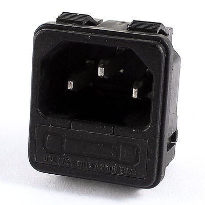 IEC320 C14 Inlet Power Plug Connector 3 Pin Terminals AC 250V 10A w Fuse Holder black fuse switch holder iec 320 c14 3pin screw type power inlet socket ac 250v