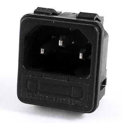 IEC320 C14 Inlet Power Plug Connector 3 Pin Terminals AC 250V 10A w Fuse Holder screw terminals metal casing 10a ac 115 250v emi filter