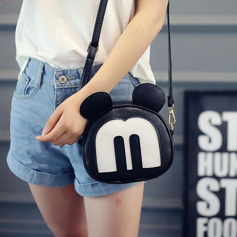 Han Edition PU Litchi Grain Female Fashion Bags Wholesale Cartoon Mickey One Shoulder Bag Parcel Aslant Bag кабели для наушников fiio rc athb white