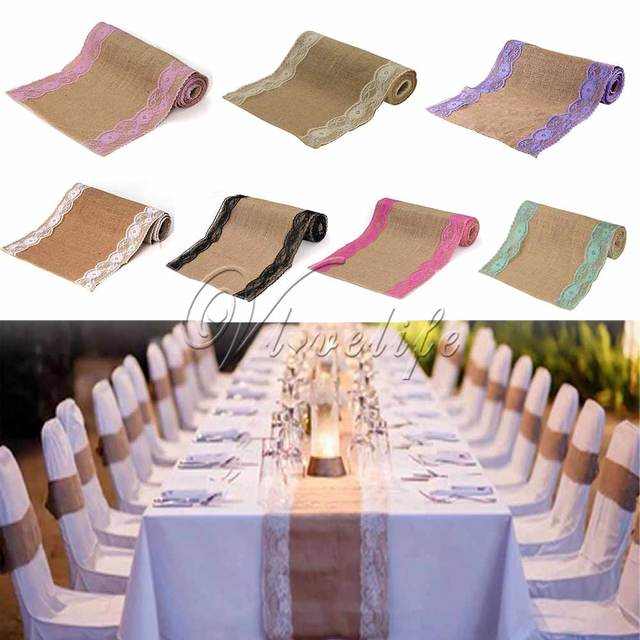 Vintage Hessian Burlap Lace Table Runner Clical Country Party Wedding Banquet Decoration 12x108