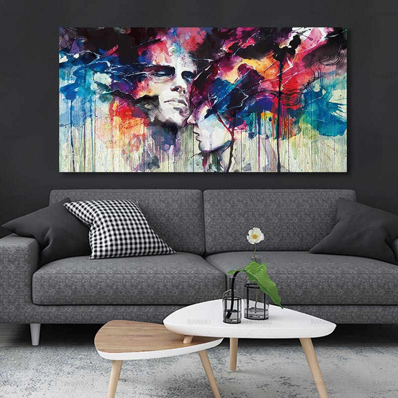 Canvas painting Wall art Pictures for Living Room Decoration Pictures abstract Poster Art Painting figure canvas Unframed lovers
