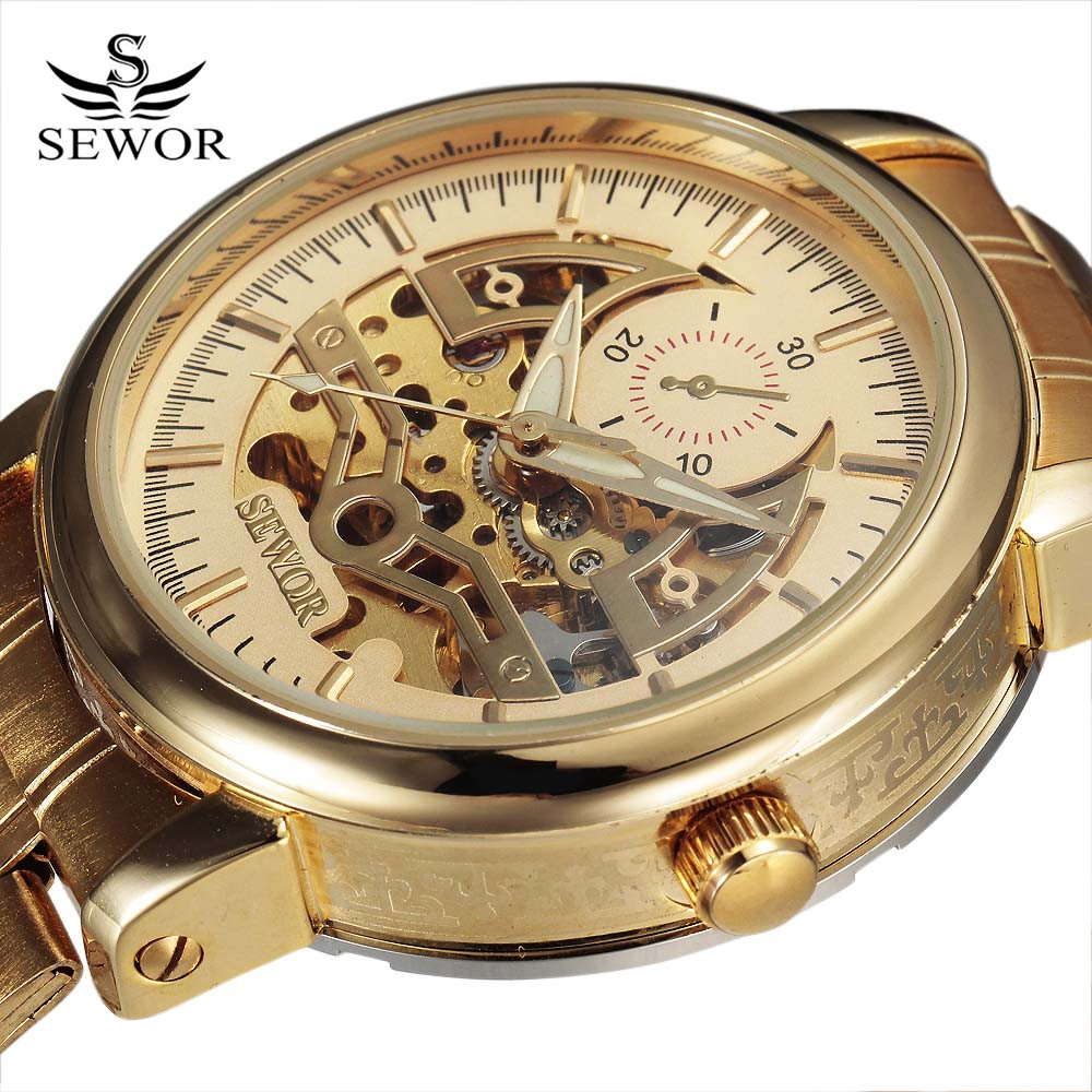 Top Brand SEWOR Fashion Male Wrist Watches Men Gold Skeleton Steel Clock Luminous Hands Automatic Mechanical Luxury Watches hot new fashion sport sewor brand skeleton men business clock steel army leather mechanical luxury gold wrist dress watch gift