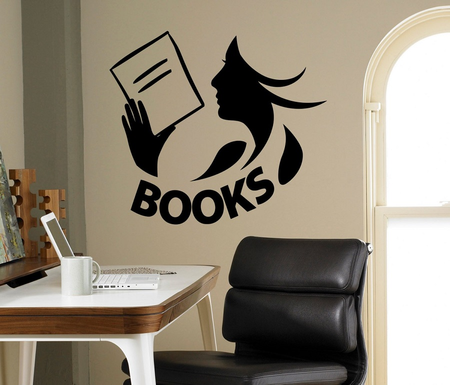 Books Wall Decal Vinyls Sticker Library School Classroom Home Interior Living Room Children Bedroom Decorative Wall Sticker YD04-in Wall Stickers from Home & Garden