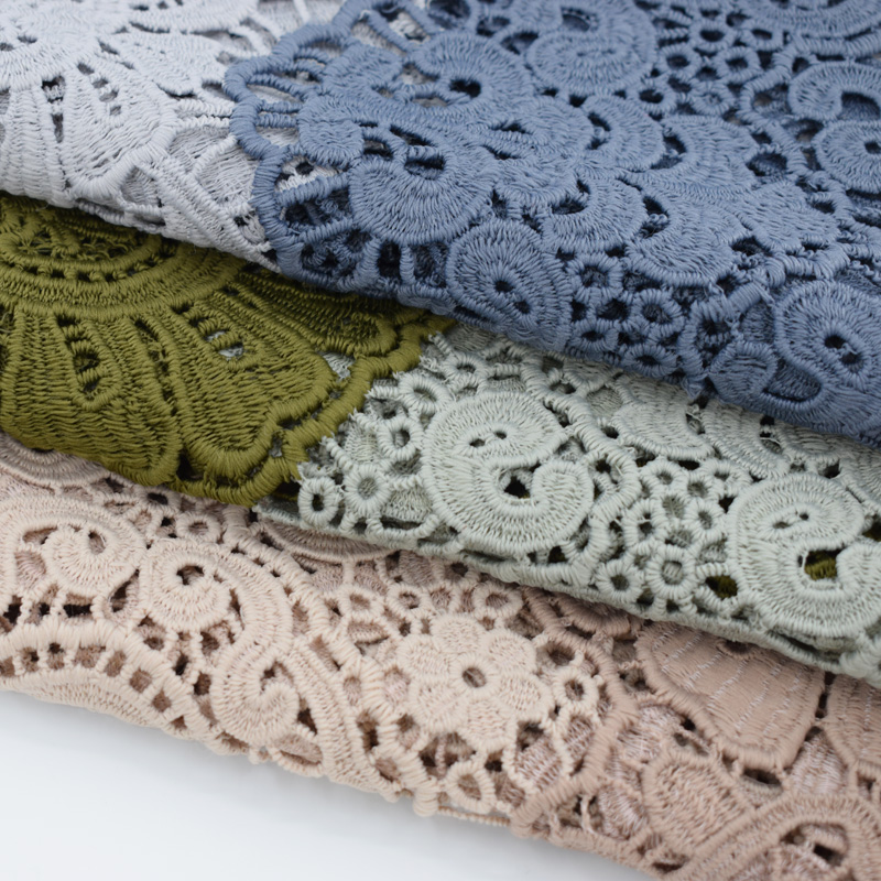 3 styles dge embroidery double color water soluble lace fabric for dress telas tissu au metre tecido tela shabby chic tissus