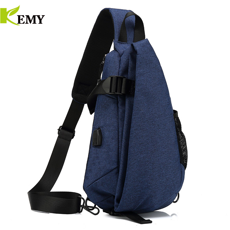 KEMY New Arrival Crossbody Bags Men Chest Pack Short Trip Messengers Bag Waterproof Shoulder Bag USB Sling Bag For Ipad Pocket 2