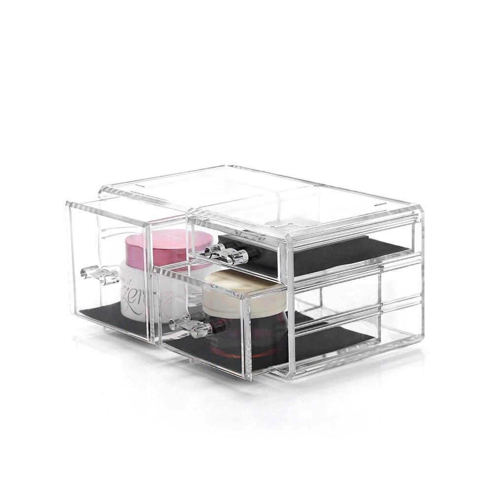 Acrylic Make Up Organizer 3 Drawers Storage Box Clear Plastic Cosmetic Storage Box Organizers Cotton Pads Plastic Box C198-1