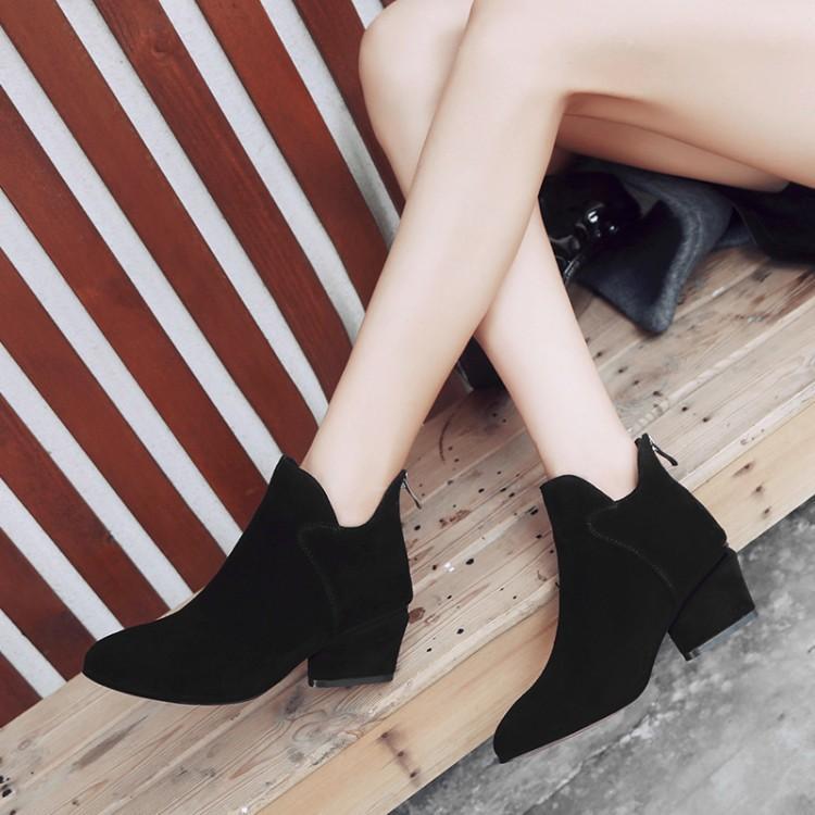 Supérieure Chic Glissière Noir Rond Botas À Chaussures Moyen Femme Femmes Bout Piste Dames En Bottines Coudre Daim Spike Talon D'hiver Latérale Bottes De Ybf6gyv7