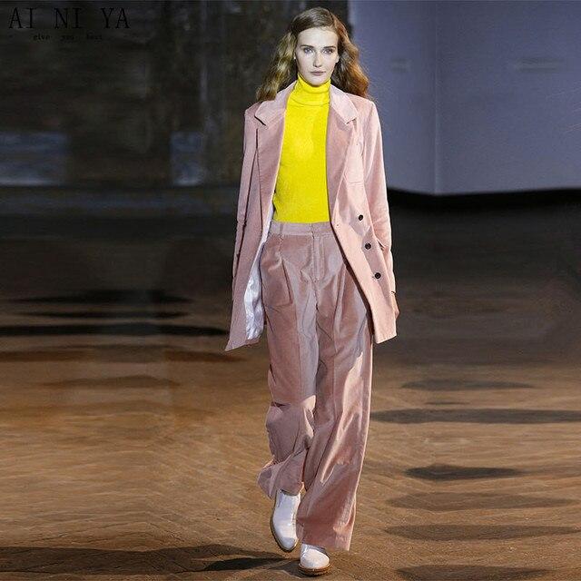 Pink Velvet Womens Business Suits Autumn Fashion Elegant Pants Suit Jackets  with Pants Office Ladies Formal OL Work Wear Custom 81701356d