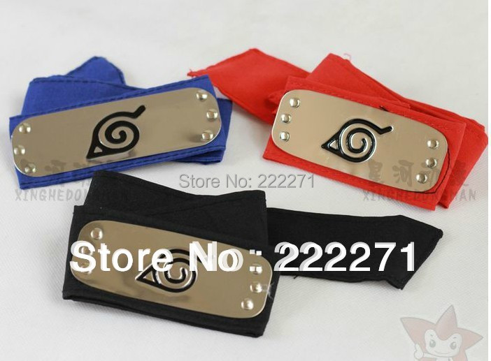 Naruto Head band Shippuden Leaf Village Metal Plate Headband Cosplay forehead protector Free Track Anime