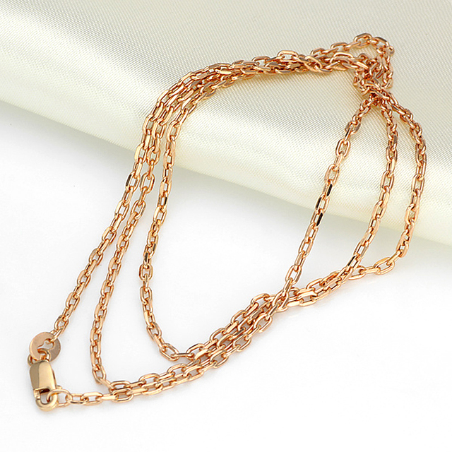 Authentic 18K Yellow White Rose Gold Necklace Cable Chain Link Sweater Chain For Women Lady Fashion Necklave 19.7inchL 2.9-3.1g 2