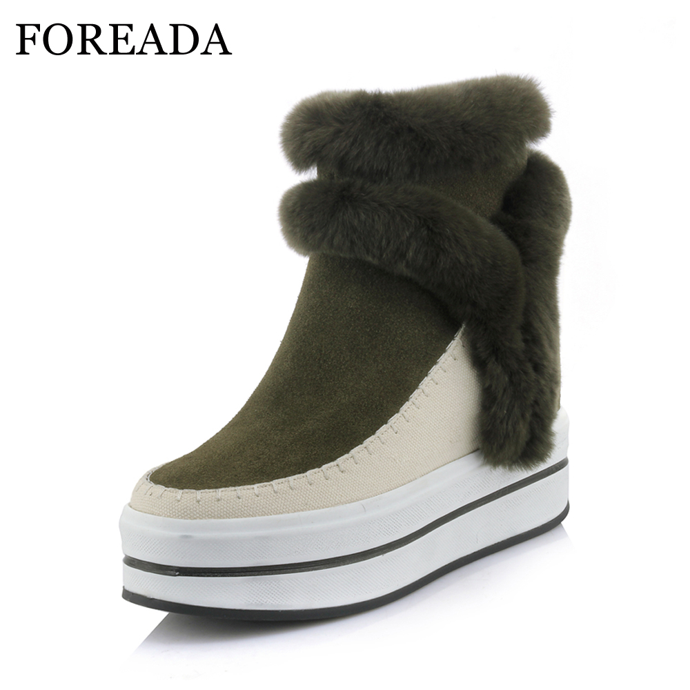 FOREADA Genuine Leather Snow Boots Women Real Rabbit Fur Ankle Boots Winter Warm Platform High Heel Boots Wedges Shoes Female